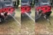 Ξεκαρδιστικό βίντεο με ένα σκύλο που κυνηγάει το νερό
